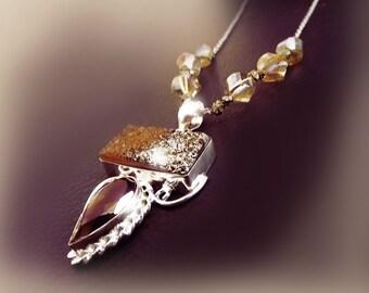 Boho necklace, druzy crystal necklace, smokey quartz necklace, gemstone necklace, pyrite necklace, amber necklace, OOAK