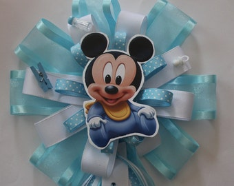 baby mickey mom to be corsage/baby boy/babygirl/minnie/mickey/welcome baby/showers/blue/pink/dad to be/corsage