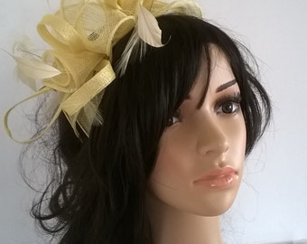 Stunning Lemon  rosette Sinamay and  Feather Fascinator