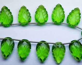 8 Inch Strand,Matched Pairs,Peridot Green Quartz Carving Faceted Pear Shape Briolettes,10x16mm