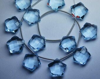 3 Matched pairs,AQUAMARINE BLUE Quartz Faceted Star Shape Briolette,Size14mm Approx
