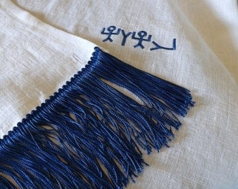 283 Paleo Hebrew and Pictograph Hebrew 100% Linen Prayer Shawl with Matching Tassel Trim