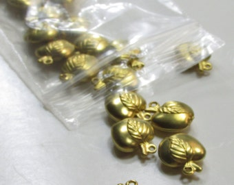 Brass Apple Charms - 6 Pieces