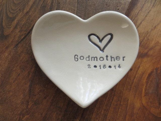 Godmother Wedding Gift: Godmother Gift Baptism Gift CUSTOM Heart Dish With Date