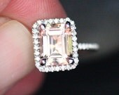Morganite Ring Engagement Ring in 14k White Gold with Peach Pink Morganite Emerald Cut 9x7mm and Diamonds