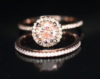 Morganite Bridal Ring Set in 14k Rose Gold with Peach Pink Morganite Round 7mm and Diamond Halo Ring