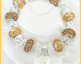 Gorgeous sparkling gold personalised charm bracelet