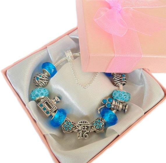 Sweet 16 Charm Bracelet: Sparkling Sweet 16 Antique Blue & Silver Charm Bracelet Gift