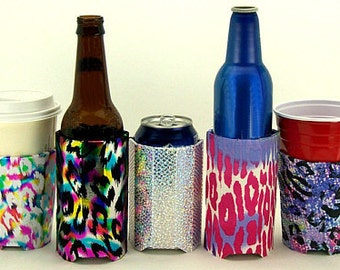 Beverage Insulator Diva Fabric Pocket Huggie-Handmade,Reusable,Cold/Hot Drinks,Solo Cup,Starbucks,Water -3 SIZES:CUP,CAN,Glass Beer Bottle