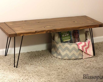 Hairpin Leg Bench, Wood Top Bench, Entry Bench, Dining Bench