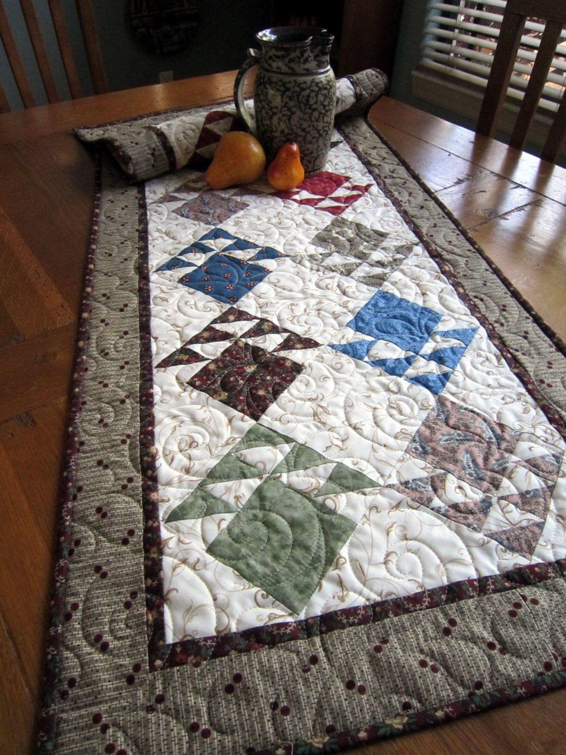 Civil war era inspired quilted table runner for 85 inch table runner