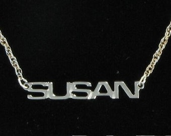 Susan Silver Tone Name Pendant Necklace Jewelry Vintage 1970s