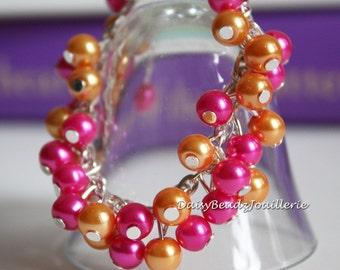 Hot Pink Fuchsia Bracelet, Hot Pink and Orange Bracelet, Flower Girl Bracelet, Hot Pink Cluster Bracelet, Flower Girl Gift, Bridesmaid Gift
