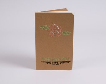 Moleskine kraft hand embroidered with a rose