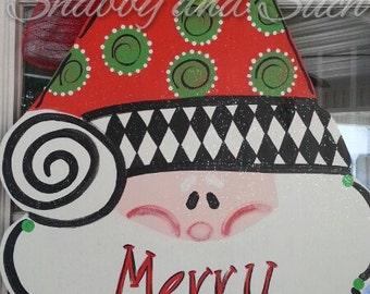 Santa Christmas Holiday Wood Door Hanger Harlequin Dots Merry Christmas