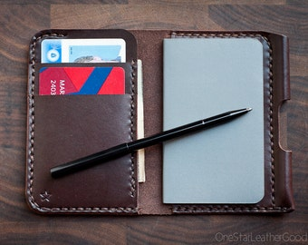 The Park Sloper Junior, wallet+notebook+pen, leather wallet, front pocket wallet, notebook accessory, slim wallet - brown