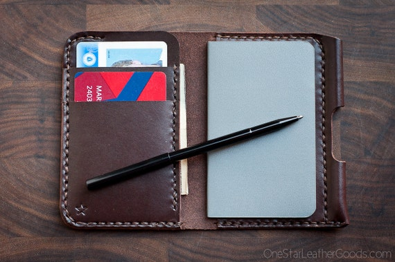 """Small notebook wallet and pen """"Park Sloper Junior"""" bridle leather - brown"""