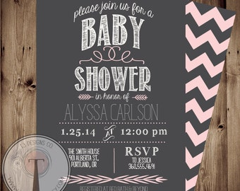 BABY GIRL Baby Shower Invitation, baby shower invite, modern baby shower,simple, elegant, baby,pink, front and back, 1054