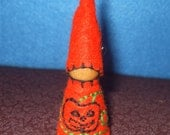 Wee Pumpkin Gnome, Eco-Friendly, Waldorf Inspired,Wool and Wood Peg People, Dollhouse Doll, Nature Table