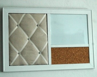 Linen French Memo Board, Magnetic Whiteboard & Corkboard Wall Organizer in a White frame