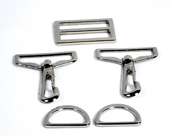 """5pc Purse Hardware Set, 1.5"""" Silver Swivel Hooks, 1"""" D-Rings, 1.5"""" Slide; Purse Supplies Bag Making, Ready to Ship from MeiMei Supplies"""