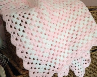 Baby pink and white crochet granny square blanket - made to order