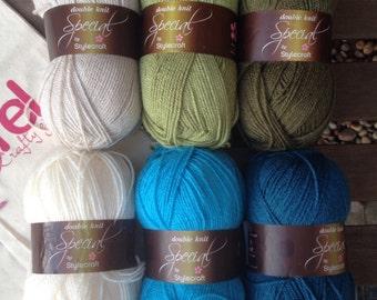 Crochet blanket kit DK 'Lakeside' - blue and green granny stripe - various sizes