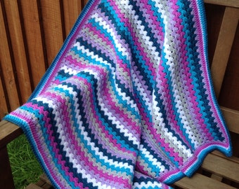 Crochet blanket kit 'India' - purple and teal granny stripe - various sizes