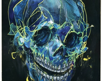 """Skull Art Prints of Original Paintings - Set of two prints - Mixed Media Art - Surreal Art - """"Hot and Cold"""" by Black Ink Art"""