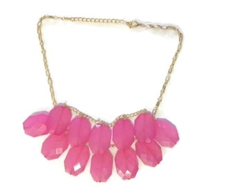 Hot Pink Chunk Necklace, Chunky Briolette Necklace, Chunky Statement Necklace, Hot Pink Jewelry, Bib Necklace Hot Pink, Anthropologie Gift