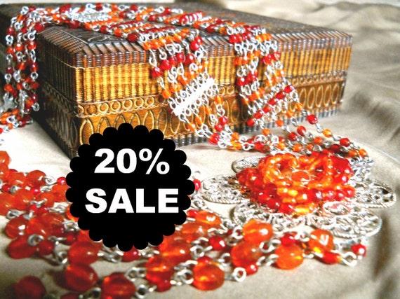 Orange Glass Necklace Massive Filigree Multi Strand FringeVintage