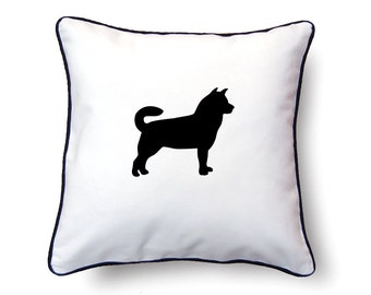 Alaskan Malamute Pillow 18x18 - Alaskan Malamute Silhouette Pillow - Personalized Name or Text Optional