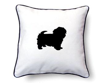 Maltese Pillow 18x18 - Maltese Silhouette Pillow - Personalized Name or Text Optional