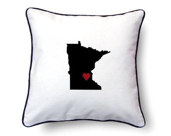 Minnesota Pillow - 18x18 - Minnesota Map - Personalized Name or Text Optional - Wedding - Housewarming Gifts