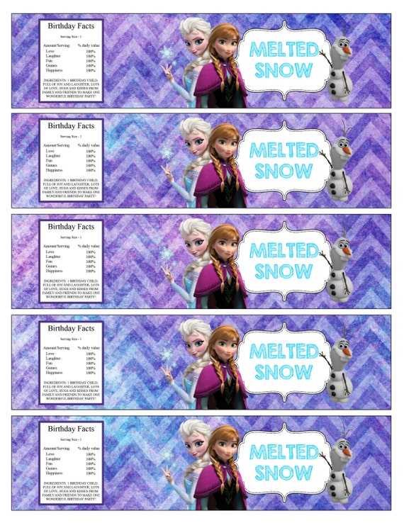 Frozen Printable Water bottle labels Melted Snow by ...