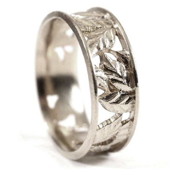 Leaf Ring Wedding Band Custom Made With Cherry Tree Leaves in 14K Gold, Made in Your Size R5005