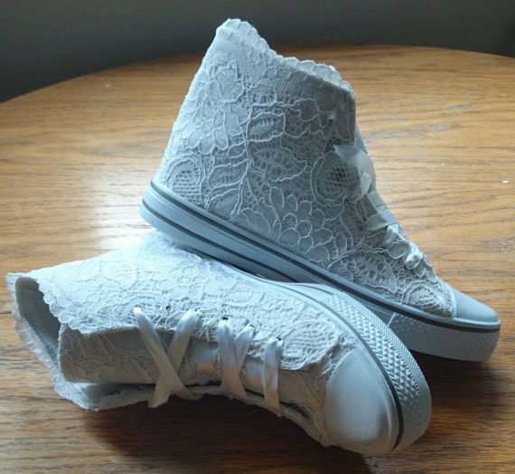 white lace hitop converse style wedding shoes by alisonthyrashoes. Black Bedroom Furniture Sets. Home Design Ideas