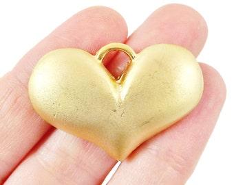 Chunky Plump Heart Pendant - 22k Matte Gold Plated - 1PC