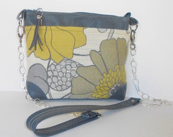 Crossbody or shoulder bag with leather trim in a modern gray and yellow floral