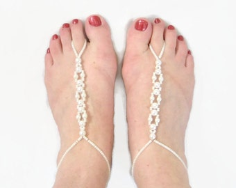 Bridal Beach Barefoot Sandals with Ivory Faux Pearl Design, Beach Wedding shoes, Wedding Barefoot Sandals, Beach Holiday Foot Jewellery,
