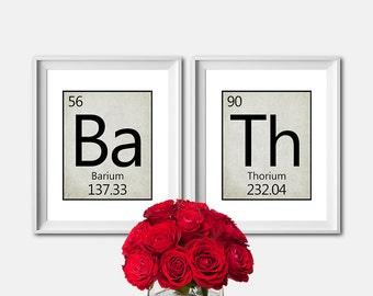 "Set of 2 - INSTANT DOWNLOAD 8X10"" Printable Digital Art Files - Periodic Table ""Bath"" - Neutral - grey beige - SKU:745"