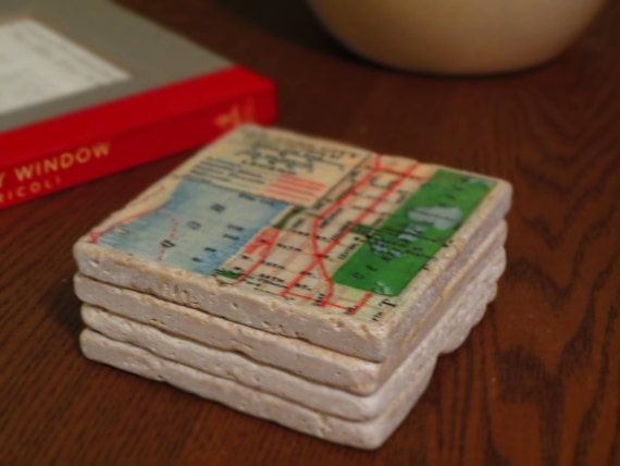 New York City Vintage Map Coasters - Set of 4