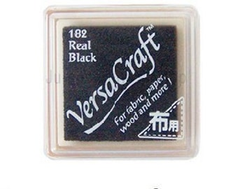Rubber Stamp Ink Pad - VersaCraft Versa Craft Stamp Inkpad - for fabric, paper, wood and more - SMALL VKS-182 *Real Black*