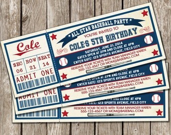 Vintage Baseball Ticket Invitation - Baseball Birthday Party Invitation - Boy Birthday Party - DIY Printable