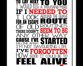 A3 Biffy Clyro Machines  Print Typography song music lyrics for framing   ( Print Only )