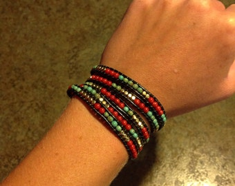 Beaded Leather Wrap Bracelet - Five Wrap