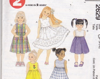 Uncut Vintage EASY 2 HOUR Sewing Pattern - Childrens & Girls Dress Pattern - Round Neckline, Gathered Skirt - Dresses Size 4,5,6 - Very Easy