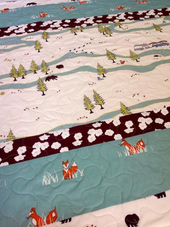 Baby Quilt, Organic, Modern Baby Quilt, Camp Sur, Camper Main, Sly Fox, Crib Bedding, Crib Quilt, Baby Bedding, Nursery Bedding