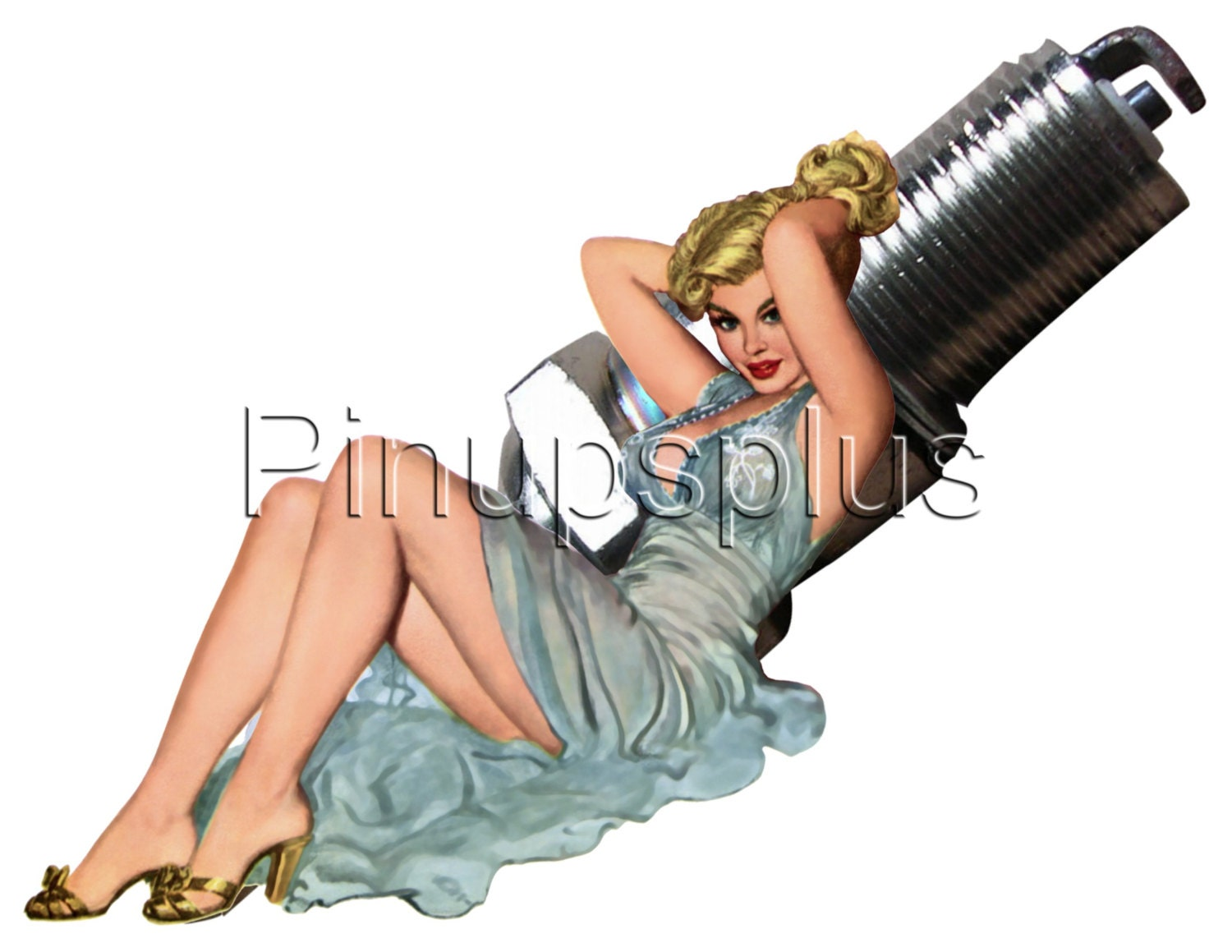 retro spark plug pinup girl waterslide decal for guitars etc. Black Bedroom Furniture Sets. Home Design Ideas