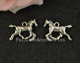 10pcs Horse Charms, 15x20mm Antique Silver Tone Horse Charms Pendants